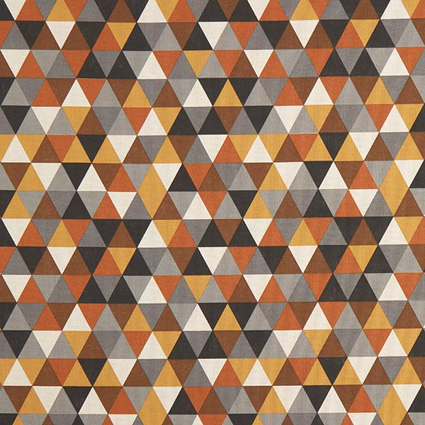 Dekostoff Halbpanama Dreiecke – braun/senf