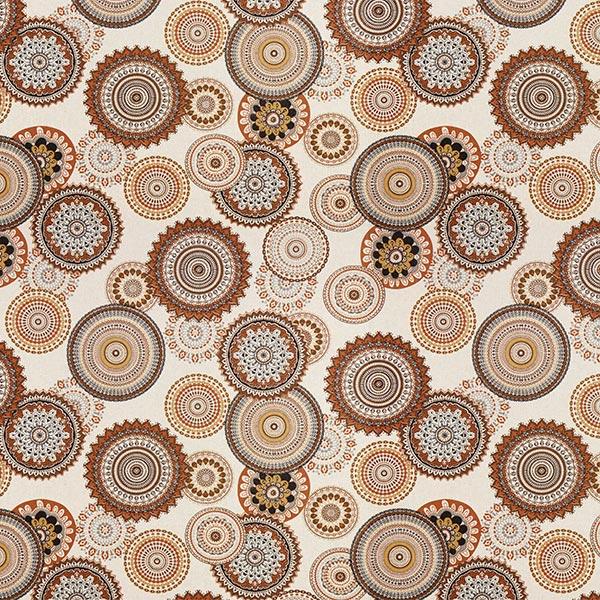 Dekostoff Halbpanama Mandala – braun/natur