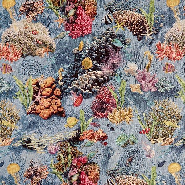 Dekostoff Gobelin Unterwasser – hellblau/rot