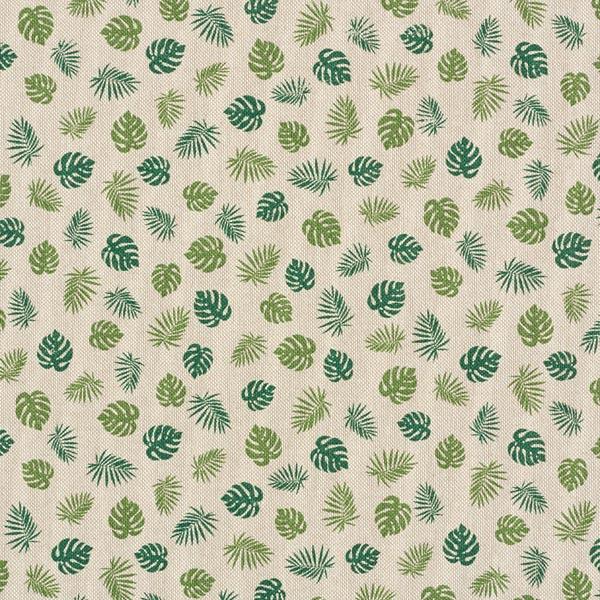 Tissu de décoration Semi-panama Feuilles monstera – nature/vert
