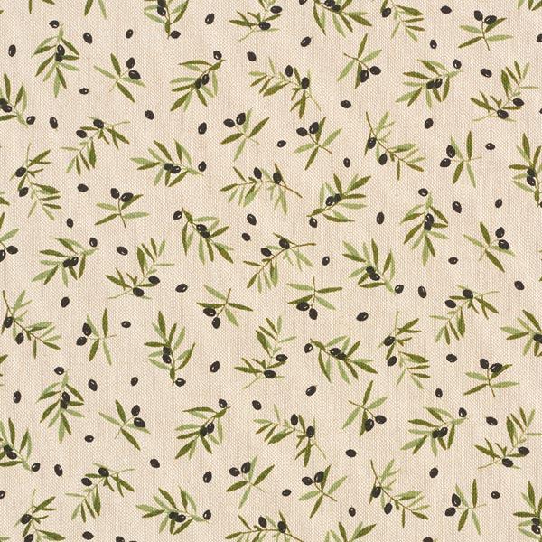 Tissu de décoration Semi-panama Olives noires – nature