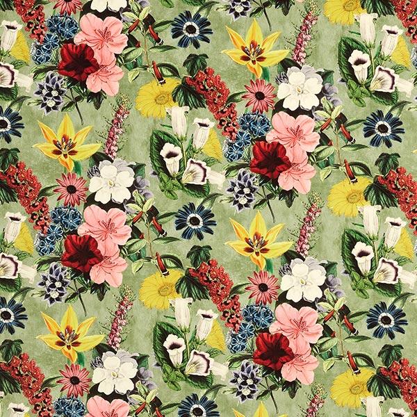 Dekosamt Vintage Blüten – grün/altrosa