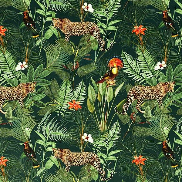 Dekosamt Dschungel Leopard – grün
