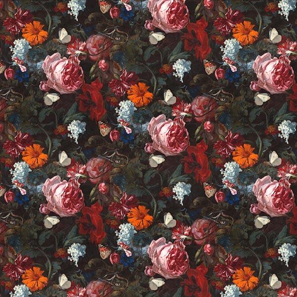 Velours déco Impression numérique de fleurs romantiques – vert foncé