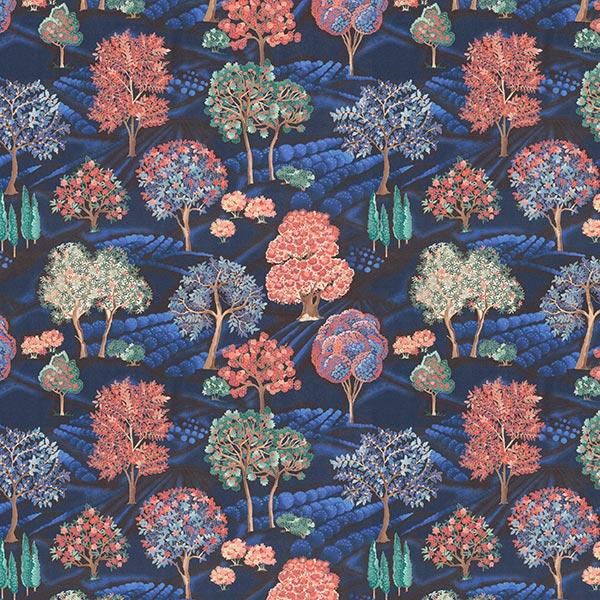 Tissu déco semi-panama Impression numérique paysage de nuit – bleu nuit