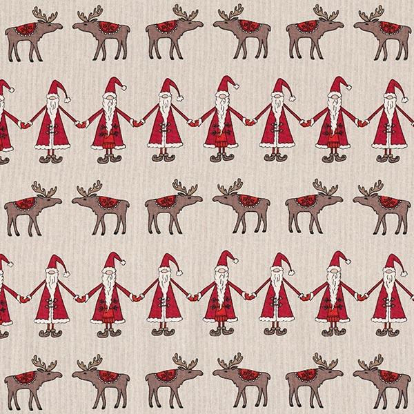 Dekostoff Halbpanama Weihnachtsmann & Elch – natur