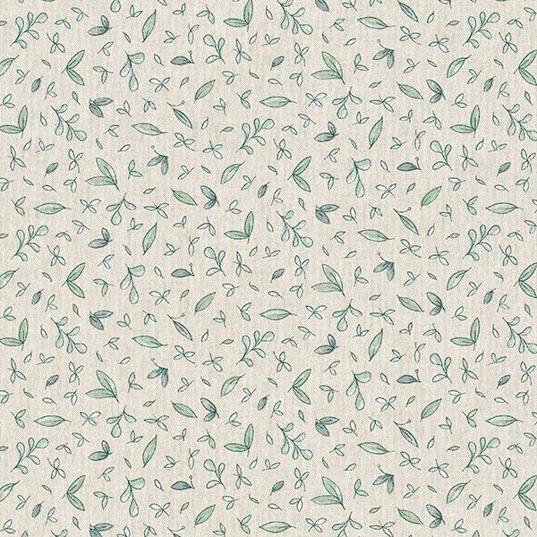 Dekostoff Halbpanama zarte Blätter – natur