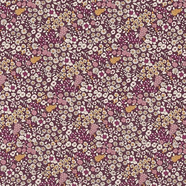 Tissu déco semi-panama Petites fleurs – bordeaux