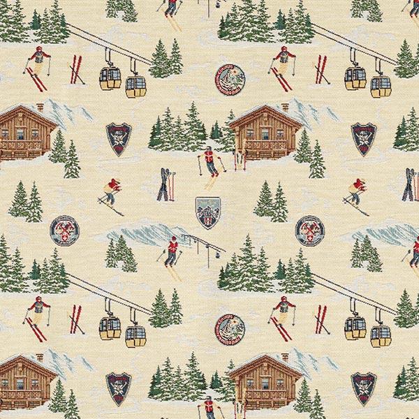 Tissu déco Gobelin Ski Club – nature