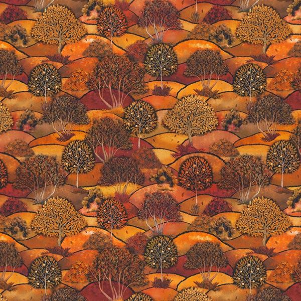 Tissu déco semi-panama Impression numérique paysage d'automne – bronze/orange