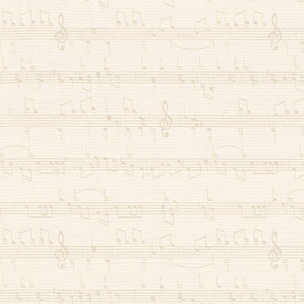 Dekostoff Goldfaden Jacquard Musiknoten – wollweiss/gold