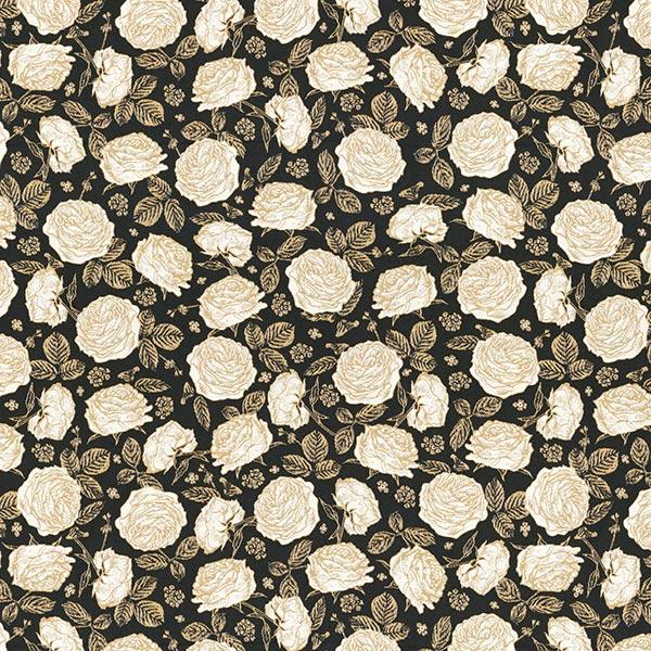 Tissu déco Jacquard Roses – noir/or