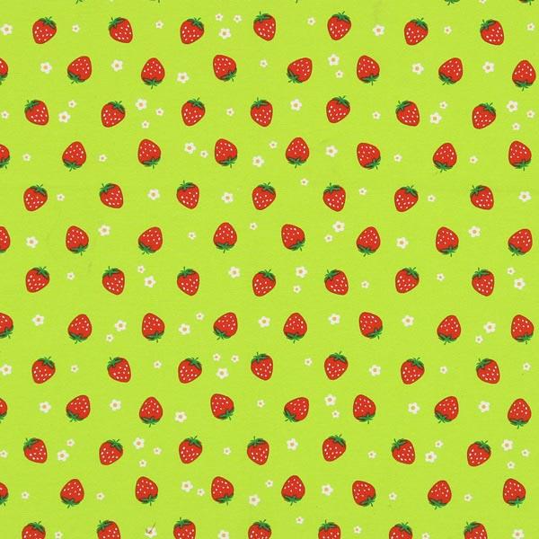 Dekostoff Canvas Rote Erdbeeren – apfelgrün
