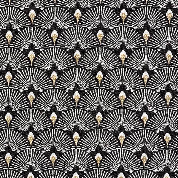 Tissu de décoration jacquard Éventails – noir