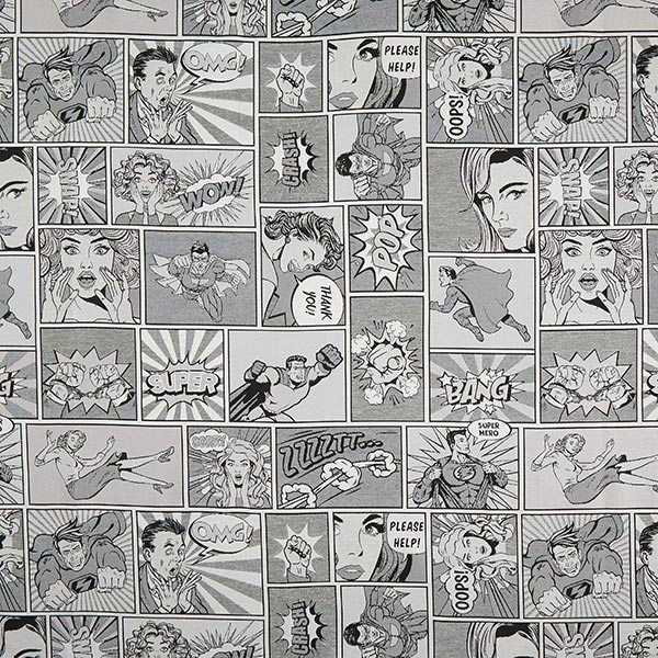 Jacquard Gobelin comic – schwarz/weiss