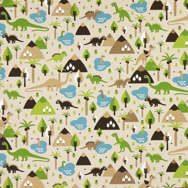 Tissu de décoration Semi-panama Dinosaures – nature