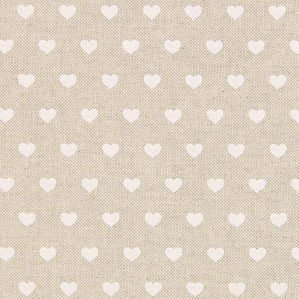 Tissu de décoration Semi-panama Petits cœurs – nature