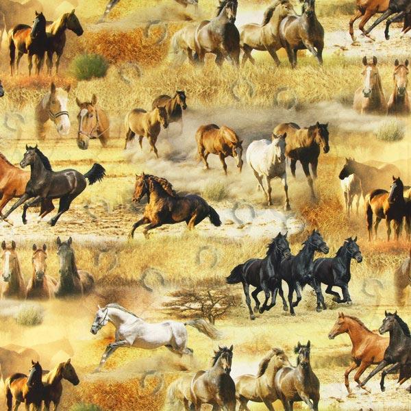 Dekostoff Digitaldruck Pferde Ranch