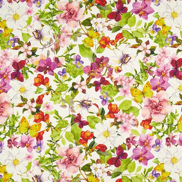 Tissu de décoration semi-panama Fleurs & Feuilles – blanc