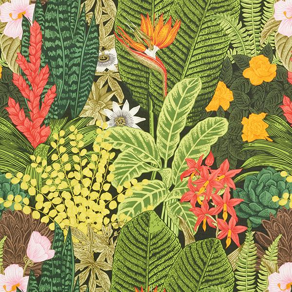 Outdoorstoff Exotische Pflanzen – dunkelgrün
