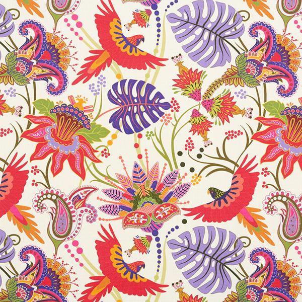 Tissu d'extérieur Flore et faune – rouge