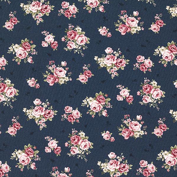Jersey coton Roses – bleu marine