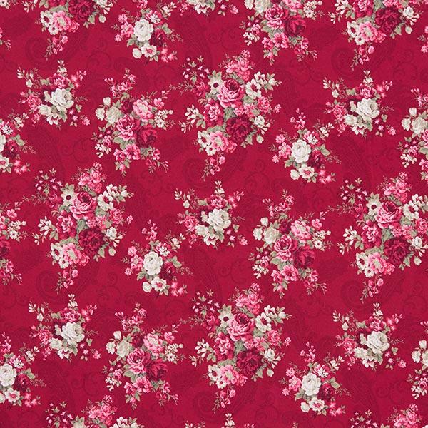 Jersey coton Roses sur motif Paisley – carmin