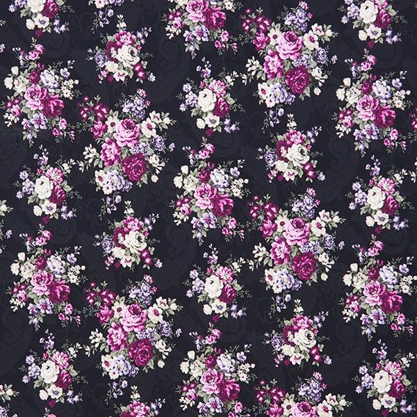 Jersey coton Roses sur motif Paisley – noir/violet
