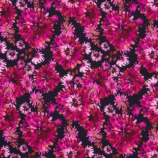 Jersey coton Dahlias – noir/rose sexy