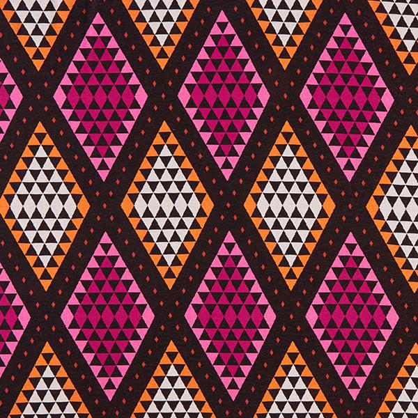 PLAIN STITCHES Cozy Plaid Jacquard Jersey GOTS – noir/rose vif | Albstoffe | Hamburger Liebe
