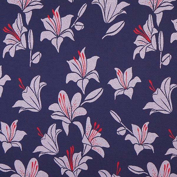 SHINE Strickjacquard Like A Lily mit Soft-Touch-Lurex – marineblau | Albstoffe | Hamburger Liebe