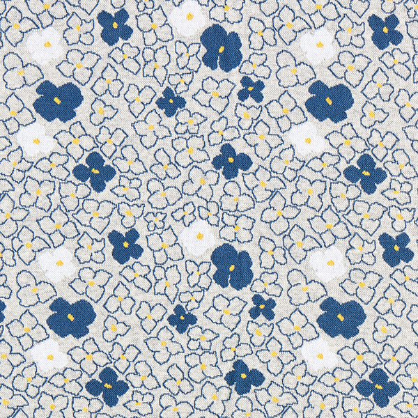 REMEMBER ME Strickjacquard Blumen Forget-Me-Not GOTS – hellgrau/jeansblau | Albstoffe