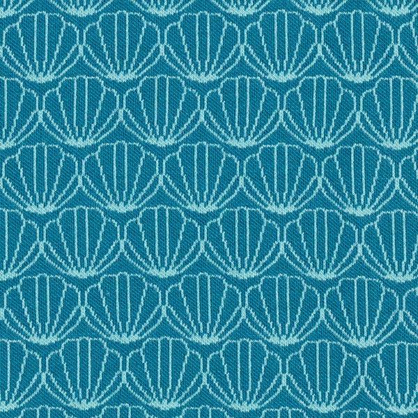 OCEAN LOVE Jacquard maille Moules GOTS – pétrole/bleu turquoise | Albstoffe