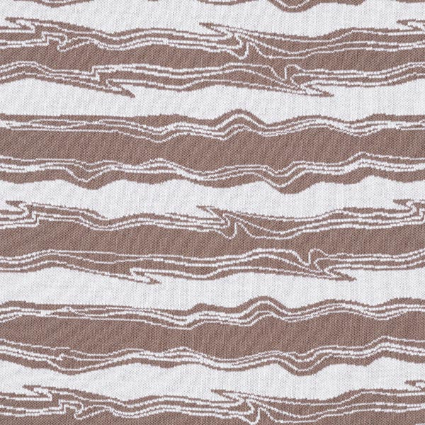 OCEAN LOVE Jacquard maille Vagues GOTS – marron/blanc | Albstoffe