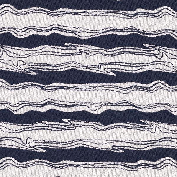 OCEAN LOVE Jacquard maille Vagues GOTS – bleu marine/blanc | Albstoffe
