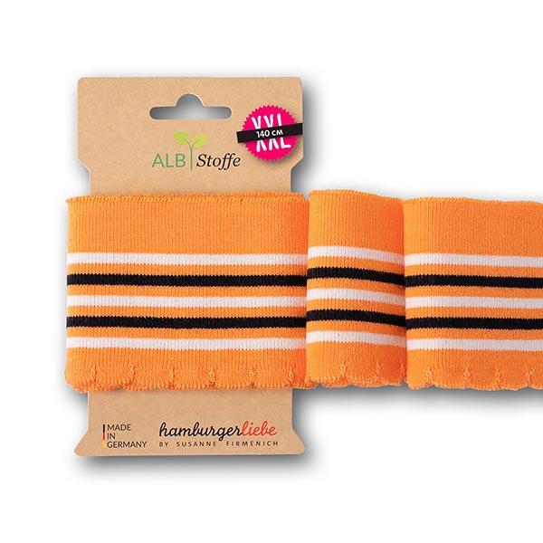 Bord-côtes Bio GOTS Cuff Me Wave [ 140 cm | 7 cm ] | Albstoffe – orange/blanc