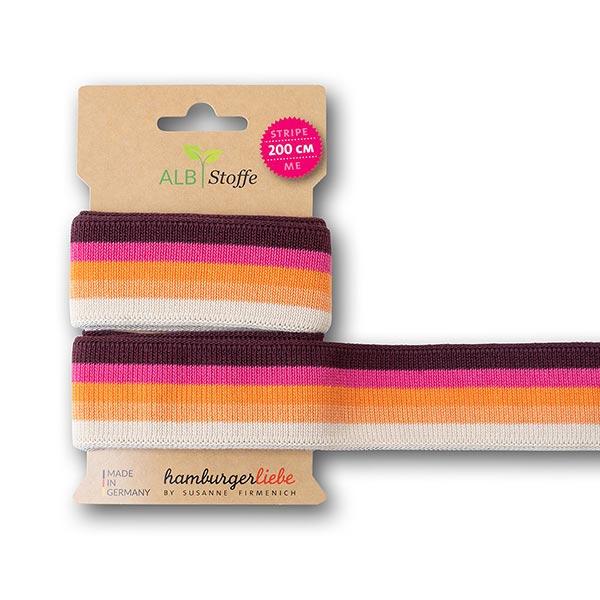 Bio-Jacquardband GOTS Stripe Me College [ 200 cm | 3,5 cm ] | Albstoffe – pink/orange