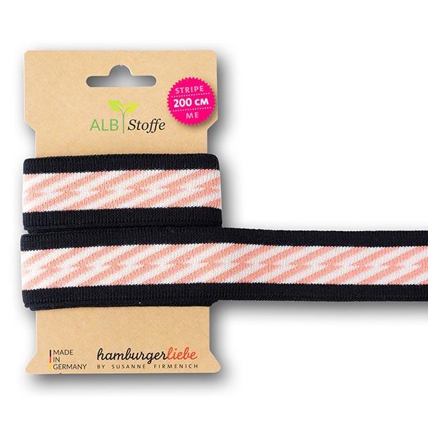 Rubans jacquard Bio GOTS Stripe Me Icon [ 200 cm | 3,5 cm ] | Albstoffe – noir/abricot