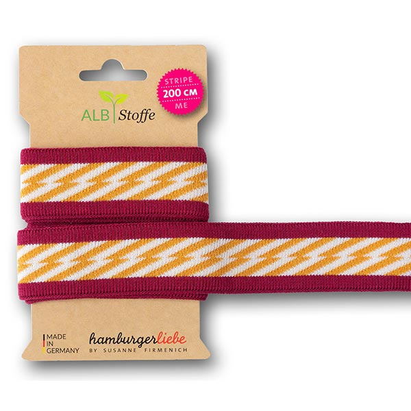 Rubans jacquard Bio GOTS Stripe Me Icon [ 200 cm | 3,5 cm ] | Albstoffe – rouge rouille/orange