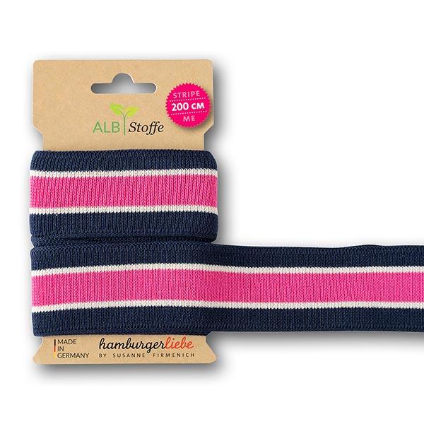 Bio-Jacquardband Stripe Me Icon  [200 cm   3,5 cm]   Albstoffe – navy/pink