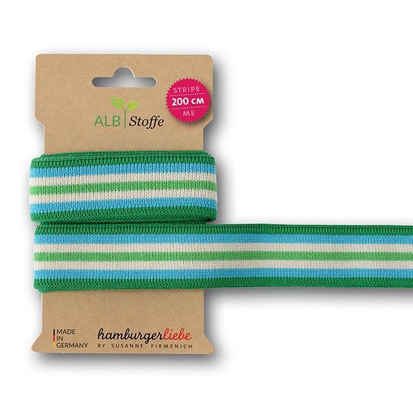 Rubans jacquard Bio  Stripe Me Icon  [200 cm | 3,5 cm] | Albstoffe – turquoise/blanc