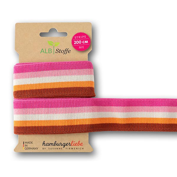 Rubans jacquard Bio  Stripe Me Icon  [200 cm | 3,5 cm] | Albstoffe – rose vif/orange