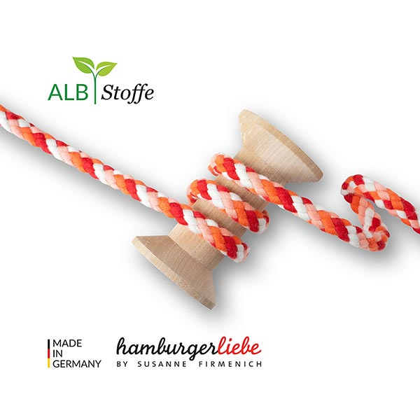 Cordon tressé bio Twist Me Big Mix [ 12 mm ] | Albstoffe – rouge vif/orange
