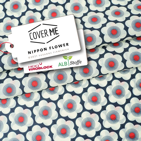 SHIELD CoverMe HEIQ Viroblock Nippon Flowers – marineblau/weiss | Albstoffe