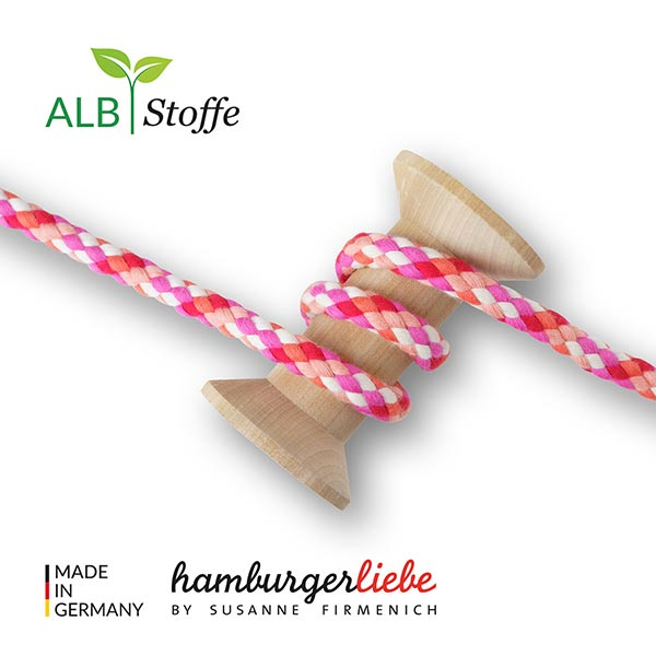 Bio Flechtkordel GOTS Twist Me Big Mix [ 12 mm ]   Albstoffe – pink/orange