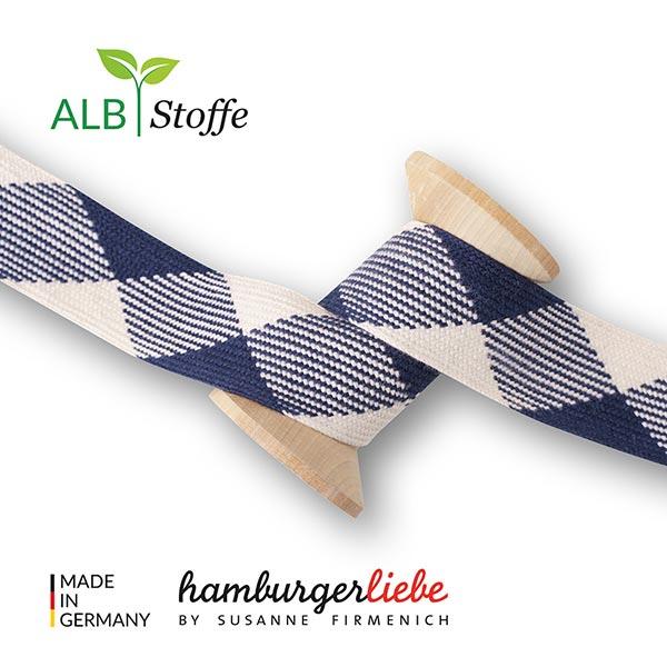 Bio Flechtkordel GOTS Twist Me Flat [ 24 mm ]   Albstoffe – marineblau/wollweiss