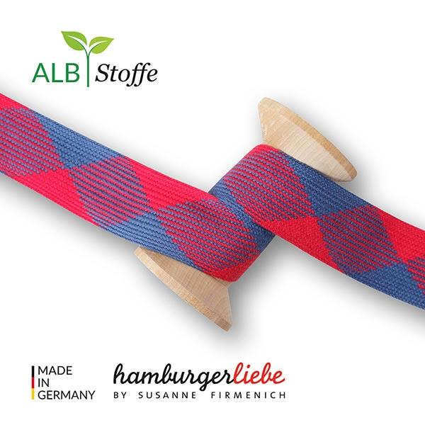 Bio Flechtkordel GOTS Twist Me Flat [ 24 mm ]   Albstoffe – signalrot/marineblau