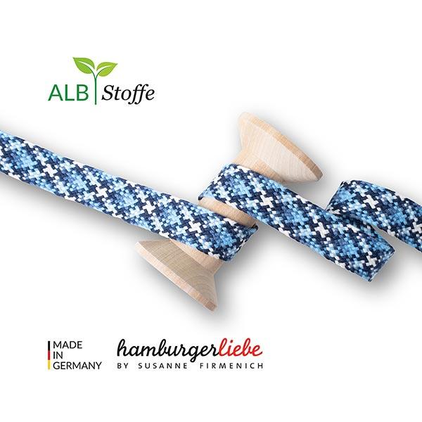 Bio Flechtkordel Twist Me Check [ 24 mm ] | Albstoffe – hellblau/marineblau