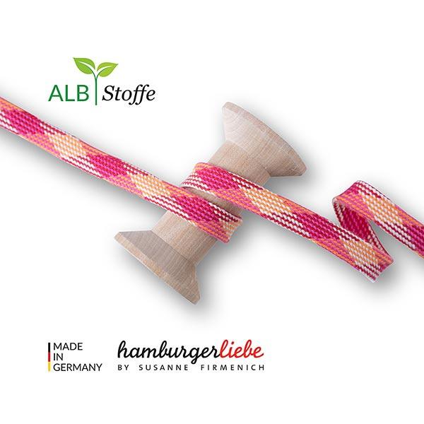 Bio Flechtkordel Twist Me Plaid [15 mm] | Albstoffe – pink/orange