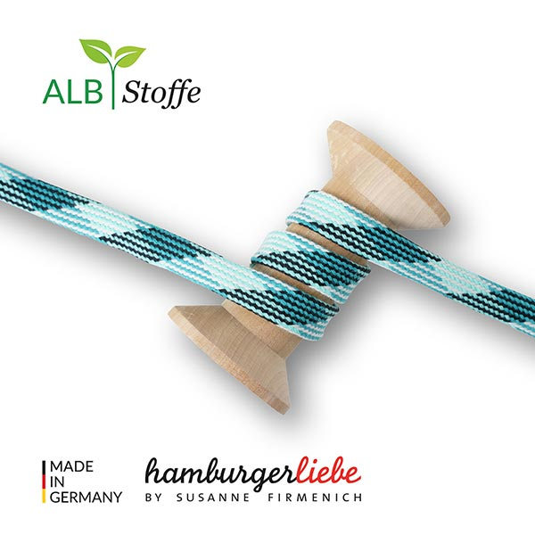 Bio Flechtkordel GOTS Twist Me Plaid [ 24 mm ]   Albstoffe – türkisblau/dunkelgrün